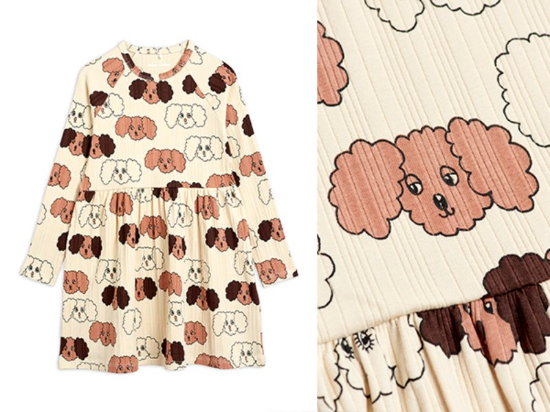 [mini rodini]Fluffy dog aop ls dress-Beige